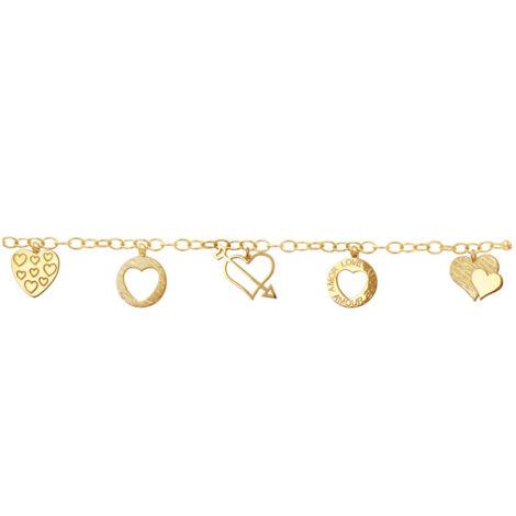 ulseira charm berloque enamorada 6 berloques coracao folheada banhada ouro 18k dourada antialergica sem niquel nickel free bruna semijoias brilho folheados BP0330 3