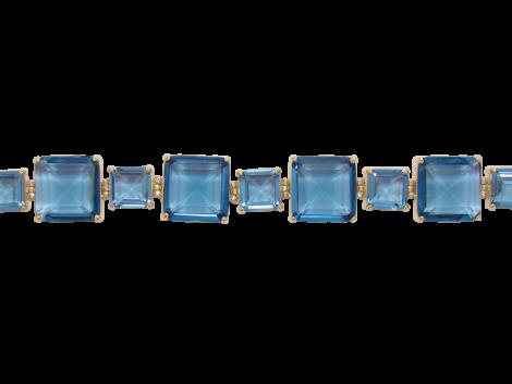 Pulseira cristais quadrados azul 20 cm comprimento folheado banhado ouro 18k semijoia antialergica sem niquel nickel free bruna semijoias brilho folheados BP 0372