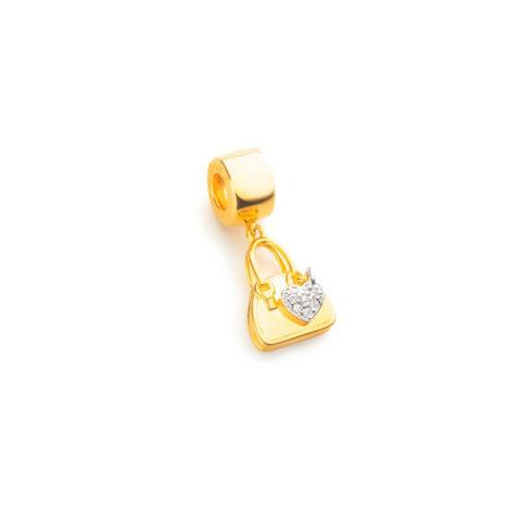 berloque pandora vivara bolsa feminina coracao banhado folheado ouro semijoia antialergica sem niquel brilho folheados