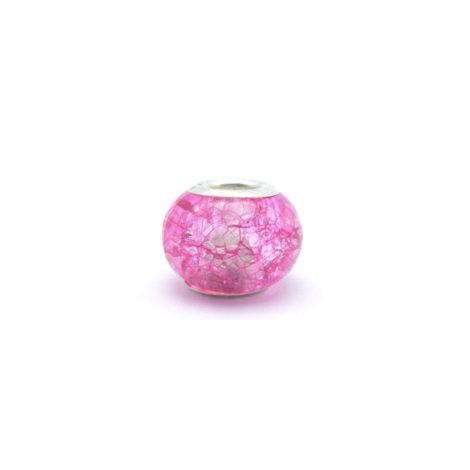 berloque pedra murano rosa detalhe prata folheado brilho folheados