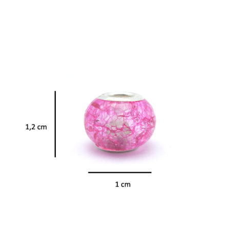 berloque pedra murano rosa detalhe prata folheado brilho folheados medidas