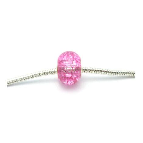 berloque pedra murano rosa detalhe prata para pulseira bracelete pandora vivara e similar folheado brilho folheados
