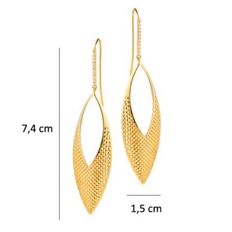 brinco comprido gancho formato folha exotico vazadinho folheado banhado ouro 18k sabrina joias brilho folheados 1689362