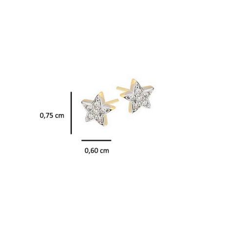 brinco estrela pequeno cravejado zirconia folheado banhado ouro 18k dourado semijoia antialergica nickel free sabrina joias brilho folheados 1664400