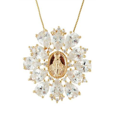 colar medalha santa cristais nossa senhora das graças folheado banhado ouro 18k dourado antialergico sem niquel nickel free semijoia brilho folheados