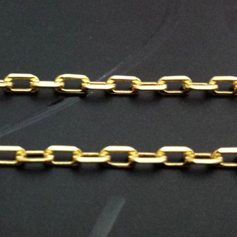 corrente masculina elos soldados 60 cm banhado ouro brilho folheados 3