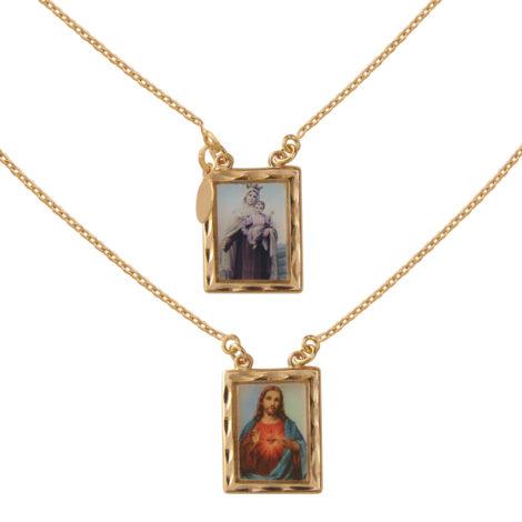 escapulario sagrado coracao de jesus e nossa senhora do carmo folheado banhado ouro 18k semijoia bruna brilho folheados nickel free