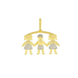 pingente canga 3 filhos 2 meninas 1 menino mamae folheado ouro 18k dourado brilho folheado1