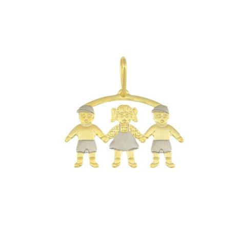 pingente canga 3 filhos 2 meninos 1 menina linha mamae banhado ouro 18k dourado brilho folheados