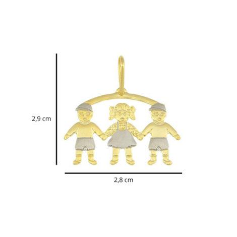 pingente canga 3 filhos 2 meninos 1 menina linha mamae folheado ouro 18k dourado foto medidas brilho folheados