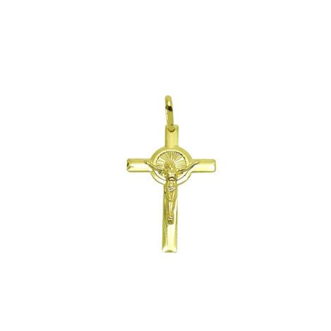 pingente cruz crucifixo cristo detalhe redondo candelabro folheado banhado ouro 18k brilho folheados