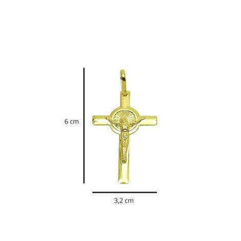 pingente cruz crucifixo cristo detalhe redondo candelabro folheado banhado ouro 18k foto medidas brilho folheados