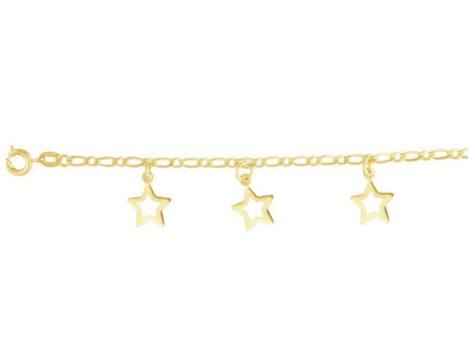 tornozeleira 3 estrelas vazadas folheada banhada ouro 18k dourado antialergica brilho folheados