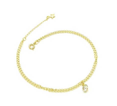 tornozeleira corrente 23cm extensor dupla ponto luz strass e estrelinha folheada banhada ouro 18k dourado brilho folheados