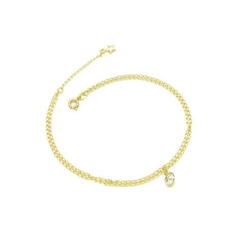 tornozeleira corrente dupla ponto luz strass e estrelinha folheada banhada ouro 18k dourado brilho folheados