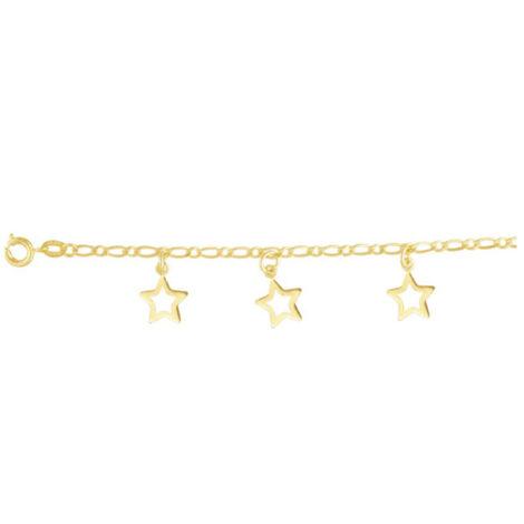 tornozeleira delicada 3 estrelas vazadas folheada banhada ouro 18k dourado antialergica brilho folheados