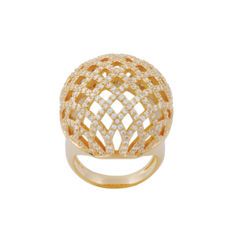 anel bola vazada trabalhado zirconias banhado ouro 18k dourado antialergico sem niquel nickel free brilho folheados bruna semijoias AB1636