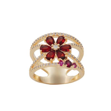 anel vazado 2 fios flor zirconia vermelha folheado ouro 18k semijoia antialergica sem niquel nickel free brilho folheados bruna semijoias AB1637