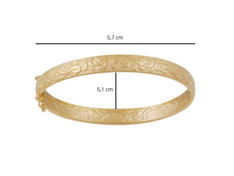 bracelete estampado pulso pequeno medio foto ilustrando dimensoes BP0449 bruna semijoias brilho folheados