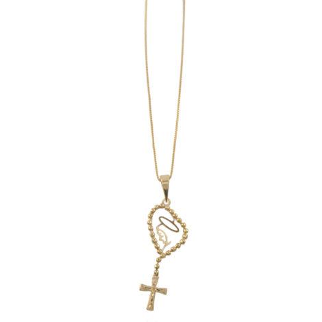 colar fino pingente nossa senhora rosario banhado ouro 18k dourado semijoia antialergica nickel free brilho folheados MB0971