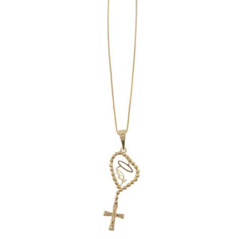 colar fino pingente nossa senhora rosario folheado ouro 18k dourado semijoia antialergica sem niquel brilho folheados MB0971