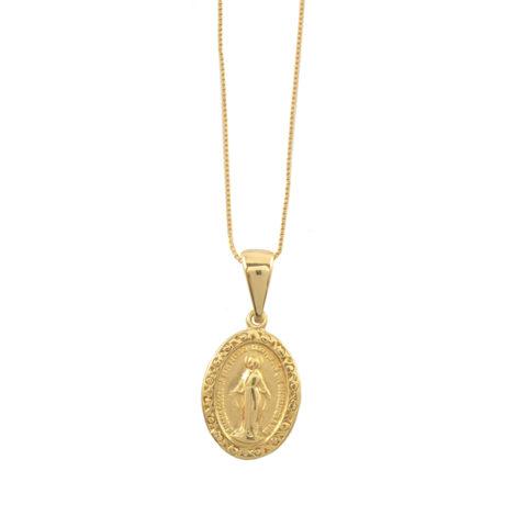 colar pingente medalha nossa senhora gracas folheado ouro 18k dourado semijoia antialergica nickel free brilho folheados sabrina joias