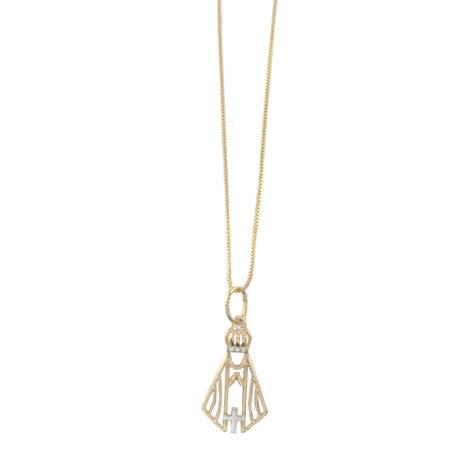 colar pingente medalha vazado nossa senhora aparecida zirconias coroa semijoia folheado ouro 18k dourado antialergico nickel fre brilho folheados
