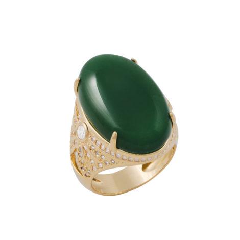 maxi anel cristal oval verde zirconias folheado ouro 18k dourado antialergico sem niquel nickel free bruna semijoias brilho folheados AB1635