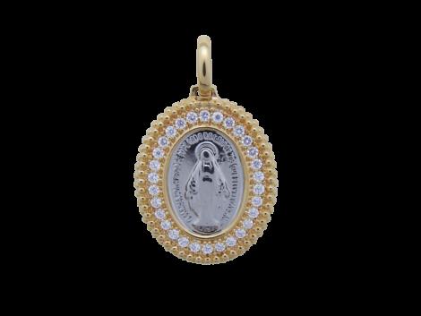 pingente medalha nossa senhora das gracas pequeno zirconia swarovski folheado ouro 18k semijoia bruna brilho folheados