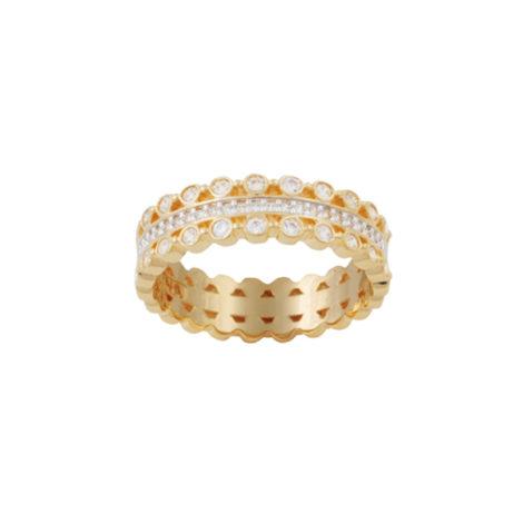 anel alianca 3 fileiras zirconia cristal folheado ouro 18k dourado semijoia antialergica nickel free Brilho Folheados Bruna Semijoias AB 1640