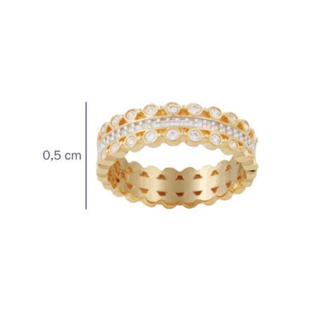 anel alianca 3 fileiras zirconia cristal folheado ouro 18k dourado semijoia antialergica sem niquel foto com medida Brilho Folheados Bruna Semijoias AB 1640