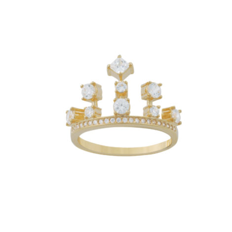 anel coroa zirconias folheado banhado ouro 18k dourado semijoia antialergica nickel free brilho folheados bruna semijoias AB 1642