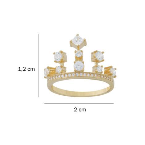 anel coroa zirconias folheado banhado ouro 18k dourado semijoia antialergica sem niquel nickel free foto medidas brilho folheados bruna semijoias AB1642