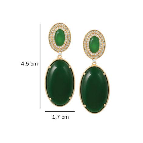 brinco cristal oval verde cravejado zirconia banhado ouro 18k dourado semijoia antialergica nickel free brilho folheados bruna semijoias BB2695