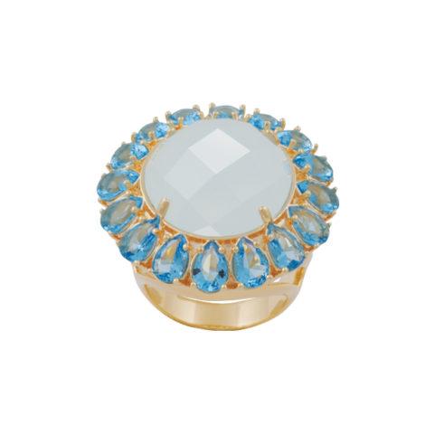 maxi anel leque cristais azul semijoia folheado ouro 18k dourado antialergico nickel free brilho folheados bruna semijoias AB1639
