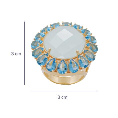 maxi anel leque cristais azul semijoia folheado ouro 18k dourado hipoalergico nickel free foto com medidas brilho folheados bruna semijoias AB1639