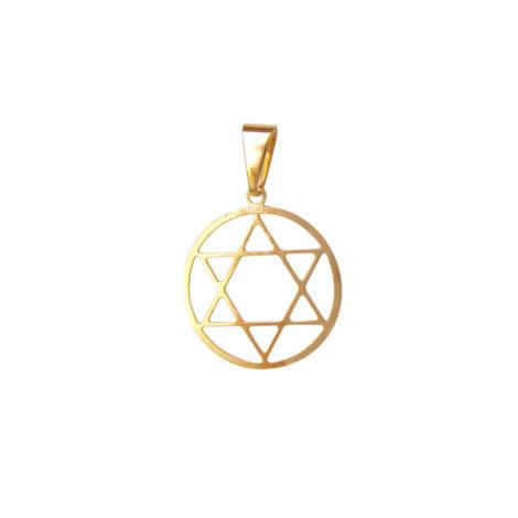 pingente medalha estrela davi medio vazado folheado ouro 18k antialergico sem niquel semijoia bruna brilho folheados MB0131