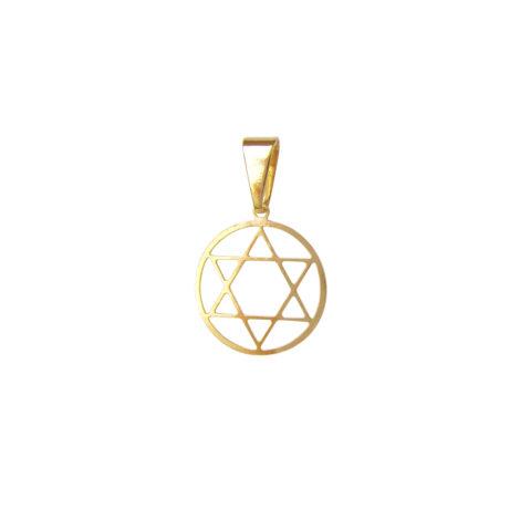 pingente pequeno estrela davi vazado folheado ouro 18k antialergico sem niquel semijoia bruna brilho folheados MB0190