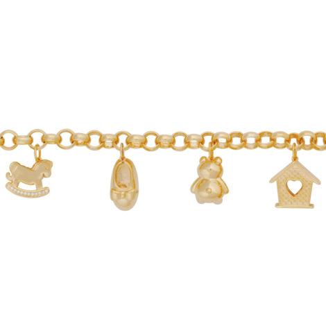 pulseira berloqueira coisas de menina mimo pulseira portuguesa 7 berloques banhado ouro 18k antialergica nickel free brilho folheados bruna semijoias BP0452