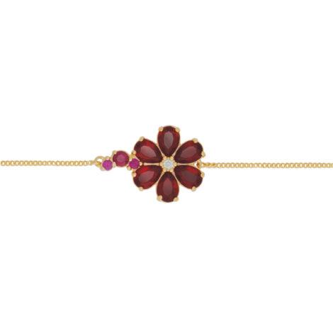 pulseira delicada flor cristal vermelha banhada ouro 18k dourado semijoia hipoalergica nickel free brilho folheados bruna semijoias BP 0448