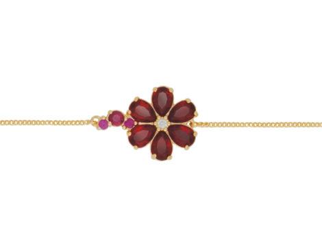 pulseira delicada flor cristal vermelha folheada ouro 18k dourado semijoia antialergica sem niquel brilho folheados bruna semijoias BP 0448 4