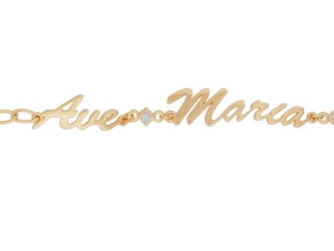 pulseira feminina delicada religiosa ave maria com zirconia folheada ouro 18k dourado semijoia antialergica sem niquel brilho folheados bruna semijoias BP 0451