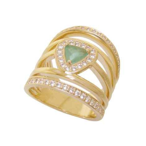 Anel 5 aros triangulo cristal verde agua cravejado zirconia folheado ouro 18k semijoia antialergica sem niquel brilho folheados bruna semijoias AB1648