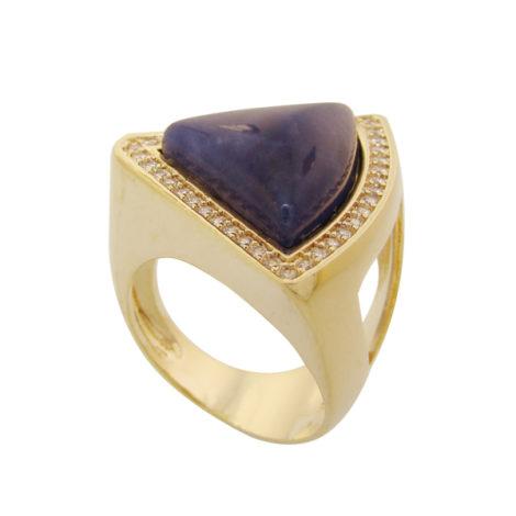 Anel triangulo pedra sodalita azul com detalhes cravejados zirconia banhado ouro 18k semijoia antialergica sem niquel brilho folheados bruna semijoias AB1644