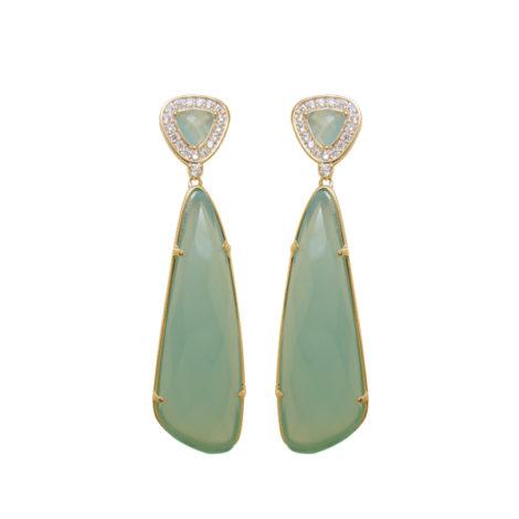 Brinco pendulo triangulo cristal verde agua zirconia banhado ouro 18k semijoia antialergica nickel free brilho folheados bruna semijoias BB2709