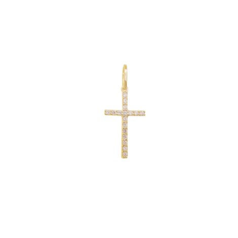 MB1154 pingente cruz mini fina palito cravejada com zirconia branca folheado ouro dourado 18k bruna semijoias brilho folheados