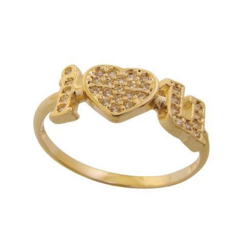 anel delicado fino falange com dizer I love you coracao cravejado zirconia semijoia antialergica nickel free banhado ouro 18k brilho folheados bruna semijoias AB1646
