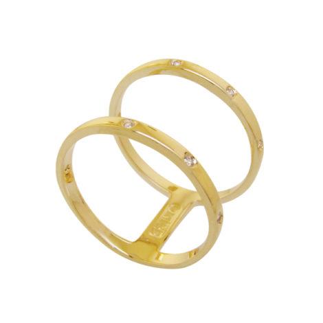 anel dois aros vazados pontos zirconia banhado ouro 18k semijoia antialergica nickel free brilho folheados bruna semijoias AB 1650