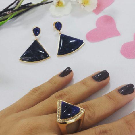 anel pedra sodalita azul bruna semijoias brilho folheados lacamento dia dos namorados 2015 AB1644