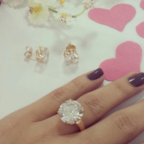 anel solitario pedra grande cristal bruna semijoias brilho folheados foto real AB1651